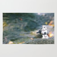 storm trooper Area & Throw Rugs featuring Lego Storm Trooper by DFZ Lego Art & Stuff