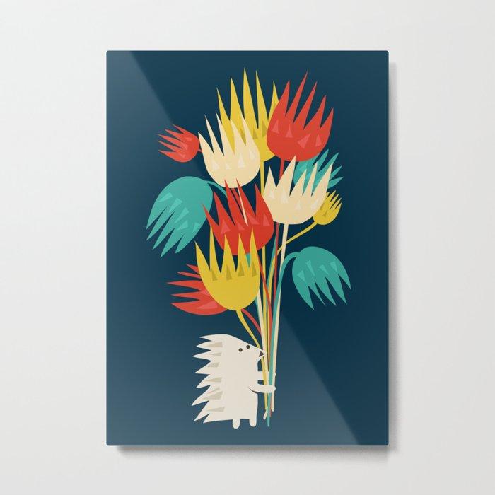 Hedgehog with flowers Metal Print