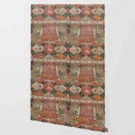 Persian Medallion Rug V // 16th Century Distressed Red Green Blue Flowery Colorful Ornate Pattern Wallpaper