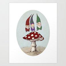Levitating Gnomes Art Print