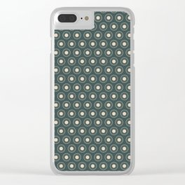 Circle Polka Dot Pattern 2, Night Watch, Alpaca Wool Cream and Scarborough Green Clear iPhone Case