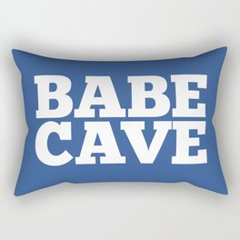 Babe Cave - Blue and White Rectangular Pillow