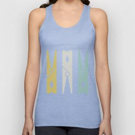 Turquoise and Gold Clothespins Unisex Tank Top