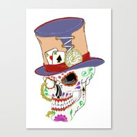 steam punk Canvas Prints featuring Steam Punk Sugar Skull by J&C Creations