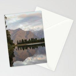 New Zealand Lake at sunset Stationery Cards
