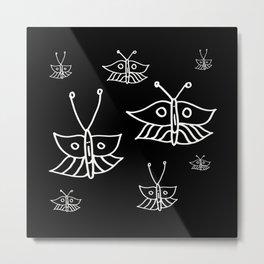 Butterflies in Black Metal Print