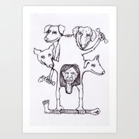 STRONG MAN AND FOUR DOGS Art Print