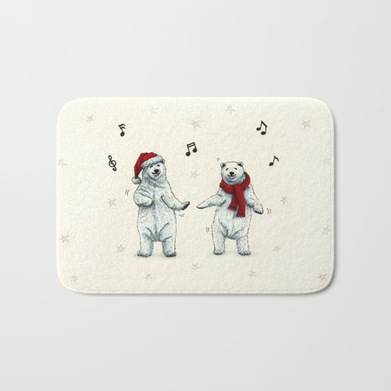 The polar bears wish you a Merry Christmas Bath Mat