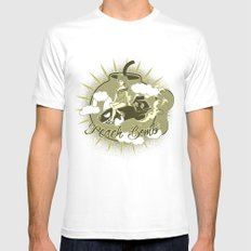 Peach Bomb MEDIUM White Mens Fitted Tee