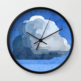 """Fluffy Cloud"" Watercolor Painitng Wall Clock"