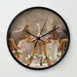 squirrel happy birthday dinner Wall Clock