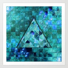 Abstract Geometric Blue Galaxy (triangle) Art Print