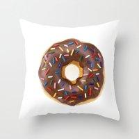 doughnut Throw Pillows featuring Doughnut by L.A.G.