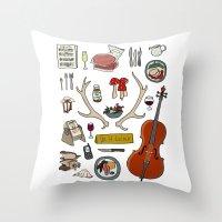 hannibal Throw Pillows featuring Hannibal by Shanti Draws
