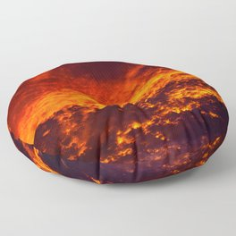 Waking Up To The Sky On Fire Floor Pillow