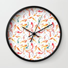 Watercolored Koi Pond Wall Clock