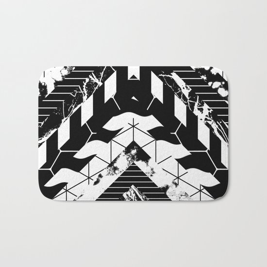 Layered (Black and white, abstract, geometric designs) Bath Mat