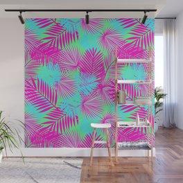 Neon Pink & Blue Tropical Print Wall Mural