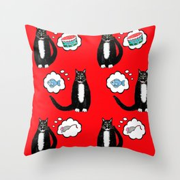 catnip enthused Tuxedo cats dreaming of cat nip toys and food Throw Pillow