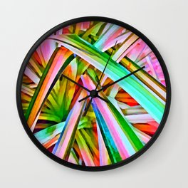 Pastel Spider Plant Leaves Wall Clock