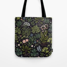 Herbarium ~ vintage inspired botanical art print ~ black Tote Bag