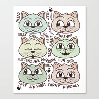 kittens Canvas Prints featuring Kittens by Artificial primate