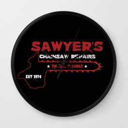 Sawyer's Chainsaw Repair Wall Clock