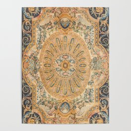 Louvre Fame Carpet // 16th Century Sunflower Yellow Blue Gold Colorful Ornate Accent Rug Pattern Poster