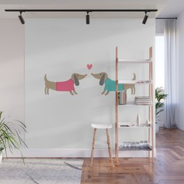 Cute dog lovers in love with heart Wall Mural
