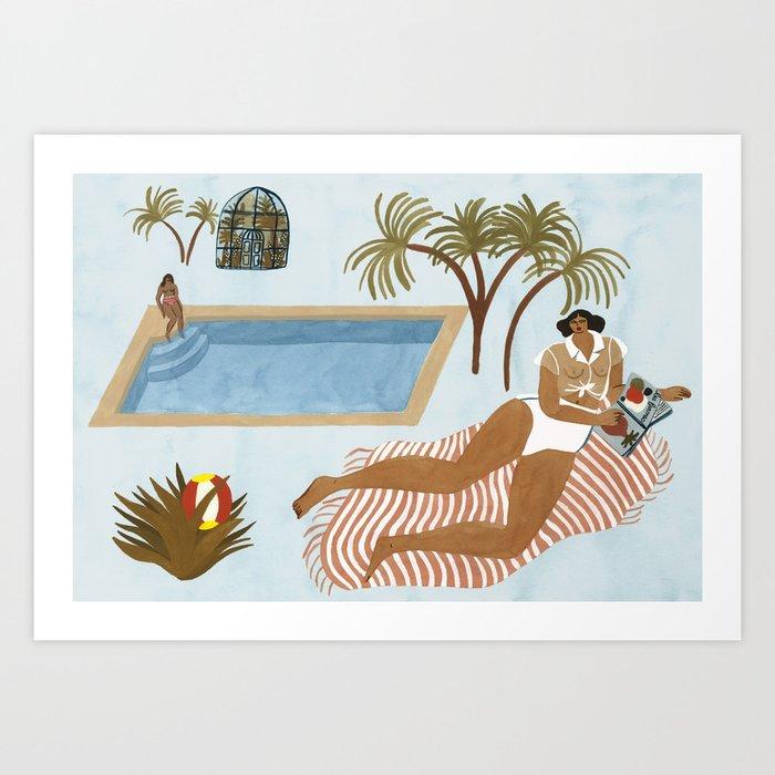 Far Off Poolside Art Print