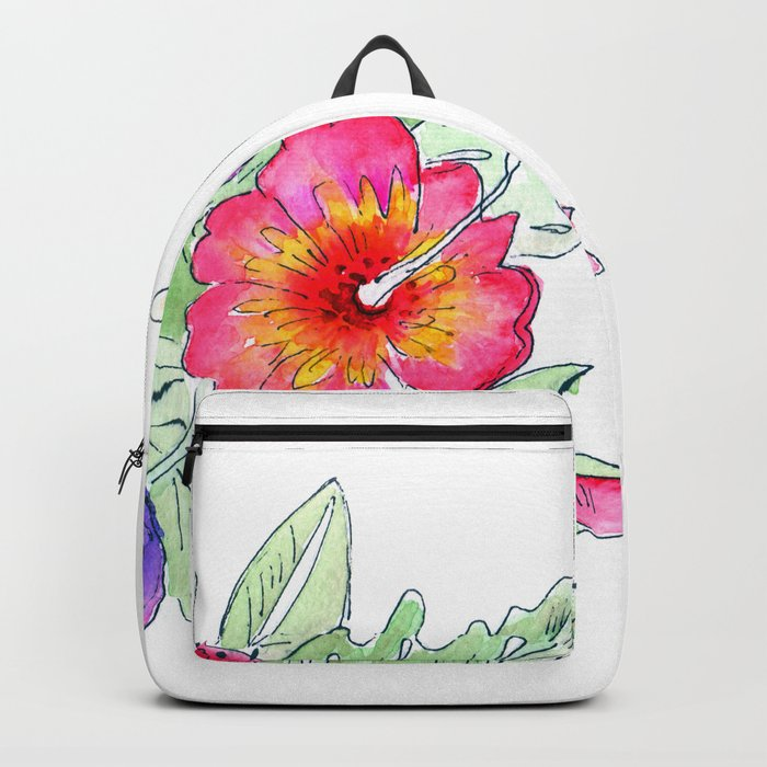 Tropical exotic flowers and leaves 2 . Backpack