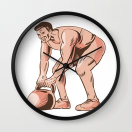 High Intensity Interval Training Kettlebell Etching Wall Clock