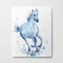 Watercolor Horse Galloping Metal Print