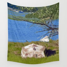 Painterly Photo Illustration Small Boat in Grass Under Summer Sun, Cape Cod Wall Tapestry