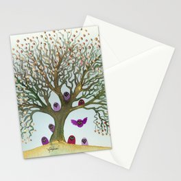 Connecticut Whimsical Owls in Tree Stationery Cards