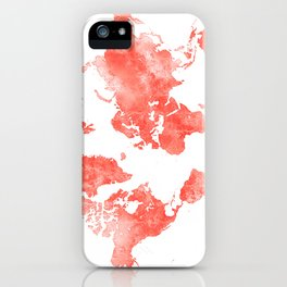 Living coral watercolor world map iPhone Case