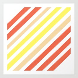Red Yellow Lines Art Print