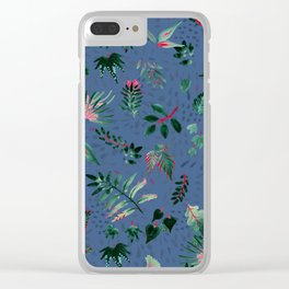 Inky Leaves Clear iPhone Case