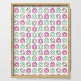 Donuts, Pop art, Cute, Funny, Pattern, Pink, Blue, Minimal, Modern art Serving Tray