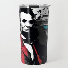 ABRAHAM LINCOLN INK SPLASH RED MAKE MUSIC NOT WAR Travel Mug