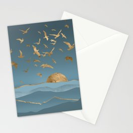 Blueprint and Gold Sea Scape Stationery Cards