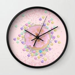 Sparkling Pink Donut Wall Clock