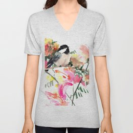 Chickadee bird art design, Birds and Flowers Unisex V-Neck
