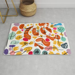 Flowers and Birds Illustration Pattern Rug
