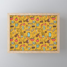 Food Frenzy yellow Framed Mini Art Print