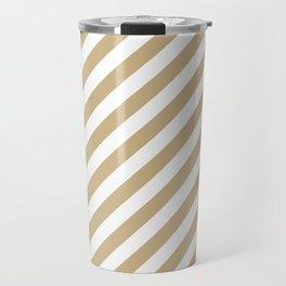 Christmas Gold and Snow White Candy cane Stripes Travel Mug