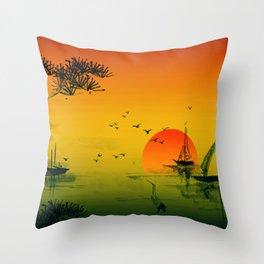 Japanese Sunset Oriental Asian Style Art Throw Pillow