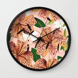 Tiger Lillies, Tropical Blush Botanical Illustration, Polka Dots Nature Vibrant Floral Jungle Wall Clock