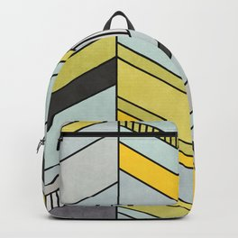 Colorful Concrete Chevron Pattern - Yellow, Blue, Grey Backpack
