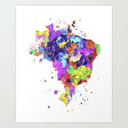 Brazil Map Art Print